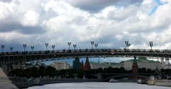 Patriarchal bridge, view on Moscow Kremlin from the Moscow river, the ship Stock Footage