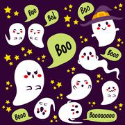 Halloween Ghosts Characters Stock Illustration