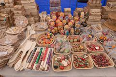 SLAVGOROD, BELARUS - AUGUST 14: Fair exhibition of handicrafts. Wood products Stock Photos