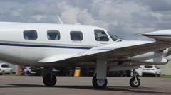 Piper Cheyenne I Turboprop Airplane Taxing on Runway Stock Footage