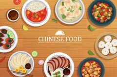 Chinese food on a wooden background.Vector chinese food top view. Piirros