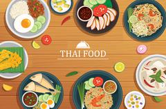 Thai food on a wooden background.Vector thai food top view Stock Illustration