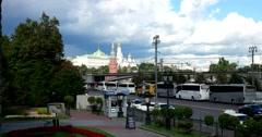 Prechistenskaya embankment, Moscow Kremlin, roadway, public transportation Stock Footage