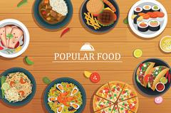 Popular food on a wooden background.Vector popular food top Stock Illustration