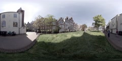 The Begijnhof, an inner courts in the city of Amsterdam, Holland 360 video VR Stock Footage