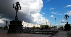 Square in front of the Cathedral of Christ, thundercloud closes the sky Stock Footage