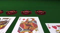 Dealing The Playing Cards On Poker Table Stock Footage