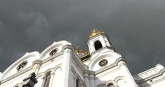 Cathedral of Christ the Saviour, clouds, dome, Moscow, Center Stock Footage