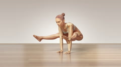 Stretching Young Female With Visible Skeleton On Wooden Floor Stock Footage
