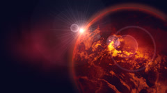 Rotating red earth with lens flare effect Stock Footage