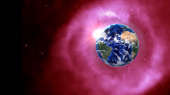 Orbiting globe in pink empty space Stock Footage