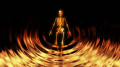 Skeleton walking in the abstract flames slowly Stock Footage
