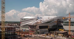 Time lapse of traffic and Rogers place in Edmonton, Alberta Arkistovideo