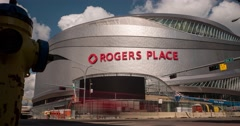 Motion Time-lapse of Rogers Place under construction in Edmonton, Alberta Stock Footage