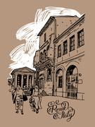 Original digital drawing of Rome street, Italy, old italian impe Stock Illustration
