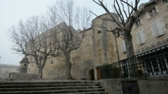 Downtown Gordes in a misty atmosphere, Provence, France Stock Footage
