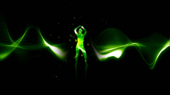 Female silhouette dancing on abstract background Stock Footage