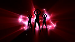 Three girls dancing synchronized together Stock Footage