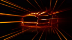 Moving cg supercar with shiny lights Stock Footage