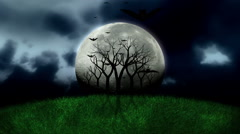 Ful Moon And Scary Scene Timelapse With Flying Bats Stock Footage