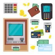Money atm - cash machine vector icons set - stock illustration