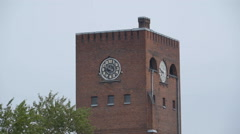 The big clock on the building in Kreenholm Stock Footage