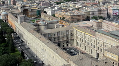 Vatican museum and square pan right Stock Footage
