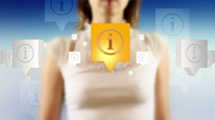 Young female pressing the screen then information sign symbol appearing Stock Footage