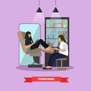 Beauty salon vector concept banners. Women in studio making pedicure - stock illustration