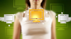 Young female pressing the screen then computer monitor symbol appearing Stock Footage