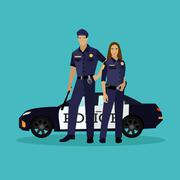 Police man and woman stay next to car. Concept vector illustration in flat style Stock Illustration