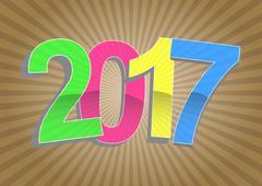 Illustration of 2017 year text with sunburst Stock Illustration