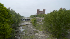 The aerial view of the Narva river Stock Footage