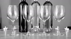 Wine bottle and glasses. Romantic ambient. Stock Footage