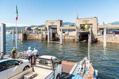 Approaching Harbor of Verbania Intra with Ferry boat. Stock Photos