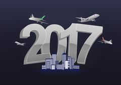 Illustration of 2017 text with airplanes and city Stock Illustration