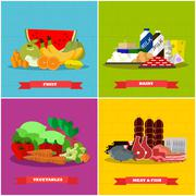 Healthy food vector poster in flat style design. Different groups of products Piirros
