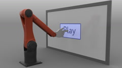 Stylized robot arm clicking Play button. Seamless loop, 4K clip, ProRes Stock Footage