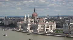 The Hungarian Parliament Building beside the River Danube, Budapest, Hungary. Stock Footage