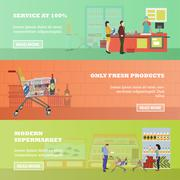 Supermarket vector banners in flat style. Customers buy products in food store Stock Illustration