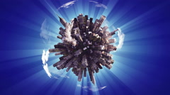 Big city on small planet Stock Footage