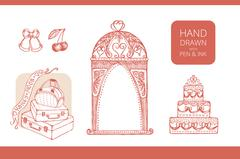 Design elements for wedding and honeymoon - stock illustration