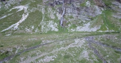 4K Aerial, Flying Above Waterfalls At Rifugio Scarfiotti, Italy Stock Footage