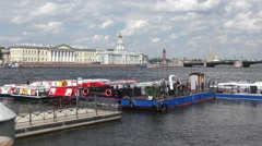 Station river bus on the embankment of the river Neva Stock Footage
