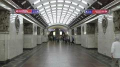 Interior of the Narvskaya metro station in Saint-Petersburg Stock Footage