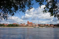 City of Torun and Vistula River in Poland Stock Photos