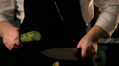 Cooking Squash. Chief's Hands Cutting Squash. Close - Up Shot Stock Footage