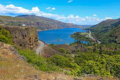 Columbia river. A beautiful view from panaroma view point. Oregon, USA Stock Photos
