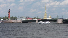 Excursion boat on the Neva river Stock Footage