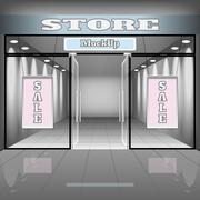Realistic store or office interior template. Boutique illustration Stock Illustration